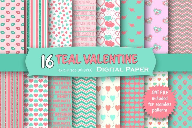 Teal Valentine Digital Paper Pack example image 1