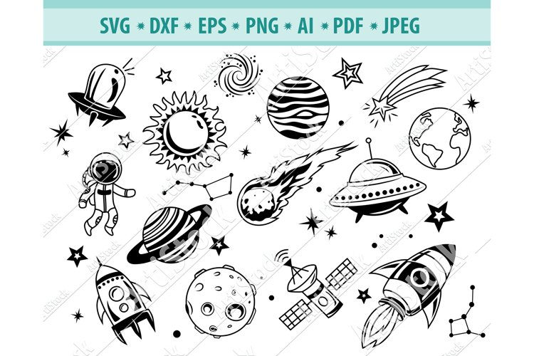 Space Svg, Cartoon Space Svg, Universe space Dxf, Png, Eps