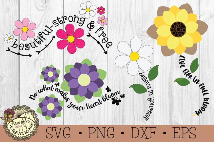 Flower SVG Bundle-Inspirational Words-Spring Flowers Bundle example image 1