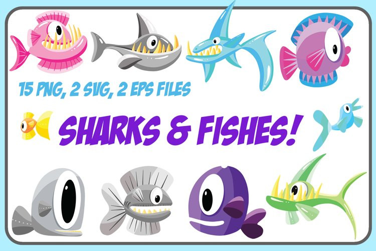 Cartoon Fish and Shark Collection! EPS, PNG and SVG Files example image 1