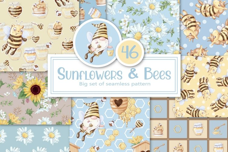 Sunflowers and Bees. Big set of seamless patterns