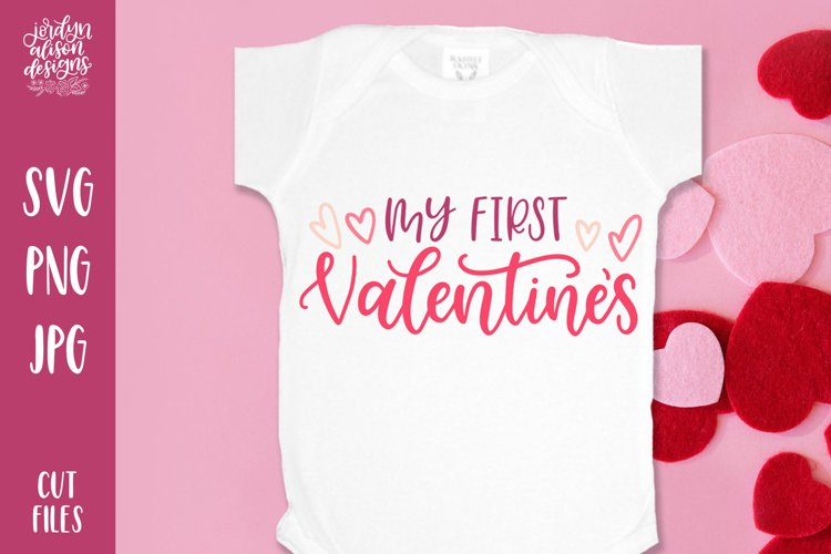 My First Valentine's, Hand Lettered SVG Cut File example image 1