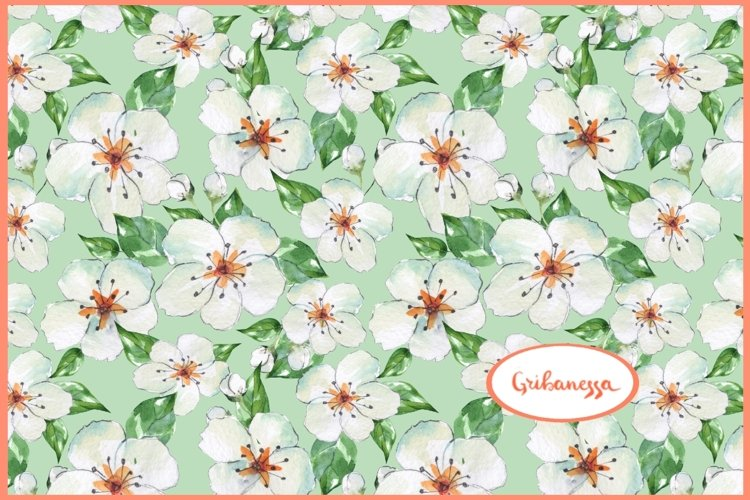 Blooming apple tree. Seamless floral pattern example image 1