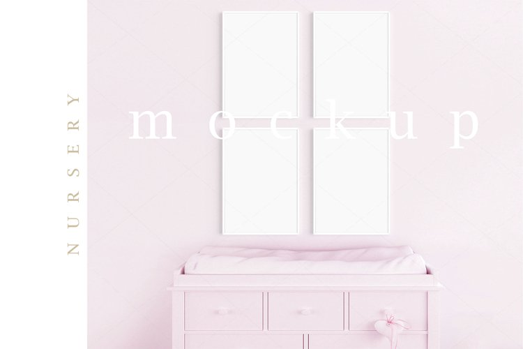 Girl's Room Nursery A4 White Frame Digital Pink Mockup/M206 example image 1