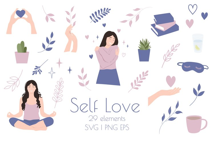 Self Love Clipart, Self Care SVG, Love yourself example image 1