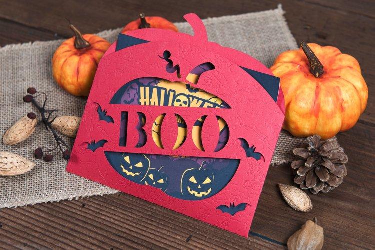 Halloween Boo Pumpkin Envelope Invitation cutting file example image 1