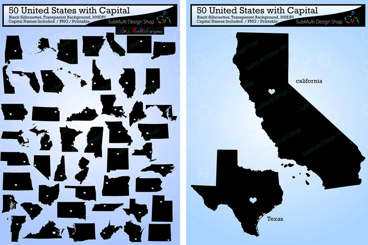 50 united states map with capital vector states with capital