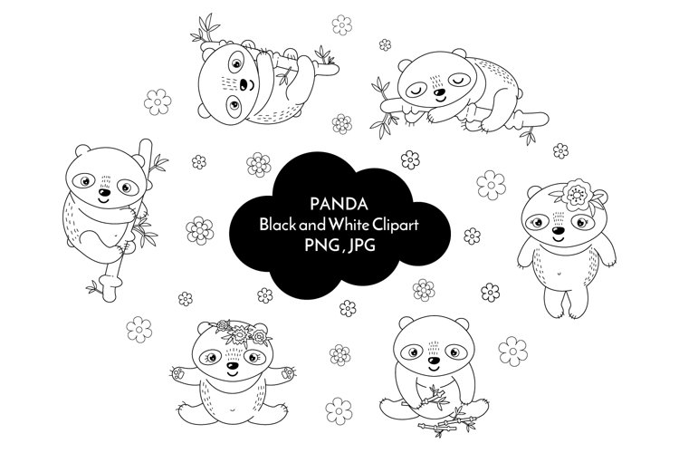 Panda black and white clipart PNG 37