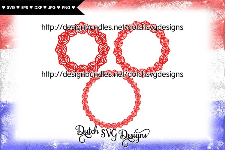 3 Rose border cut files, monogram svg, mothers day svg, diy example image 1