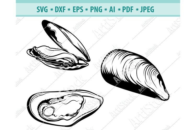 Clams Svg, Clams Clipart Svg, Beach Svg, Shell Dxf, Png, Eps example image 1