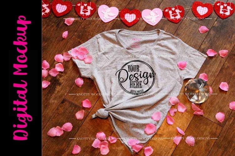 Valentine Mockup - Grey V neck T-shirt - Downloadable JPEG example image 1