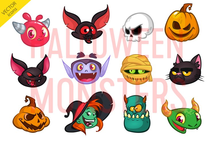 Cartoon Halloween vector characters. Icon set
