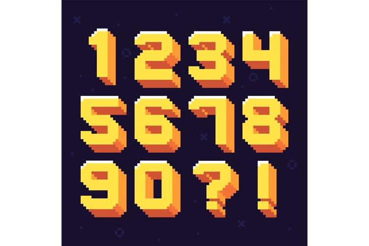 Pixel numbers. Retro 8 bit pixels characters example image 1