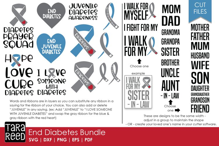 End Diabetes - Diabetes SVG and Cut Files for Crafters example image 1