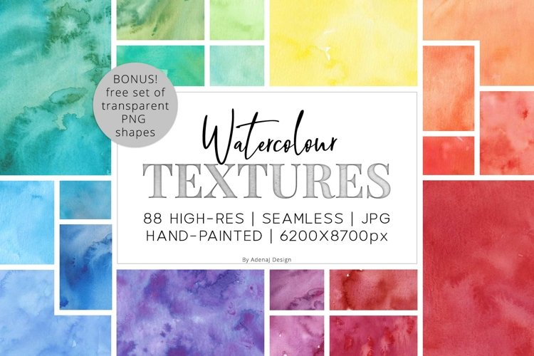 88 Hi-Res Seamless Watercolor Textures example image 1