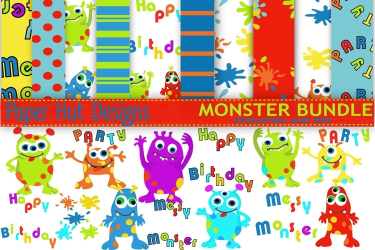 Monster Clipart and Digital Papers Set