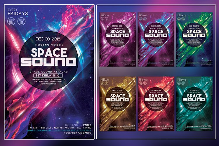 Space Sound Photoshop Flyer Template example image 1