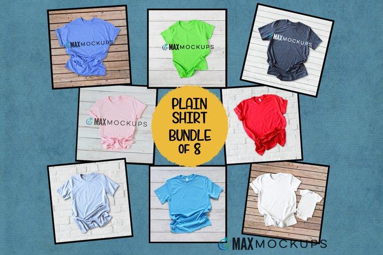 T-shirts Mockup bundle, summer flatlay, white gray pink blue