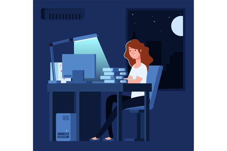 Woman working at night. Unhappy stressed female late hard wo example image 1