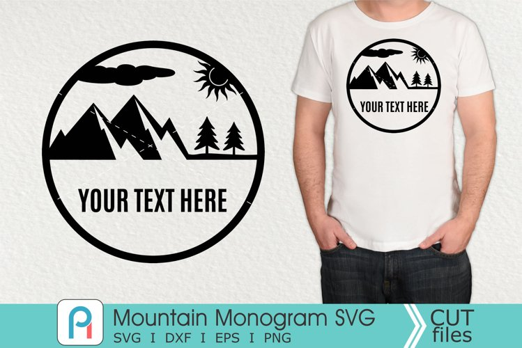 Mountain Monogram Svg, Mountain Svg, Mountain Clipart example image 1