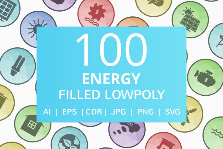 100 Energy Filled Low Poly Icons example image 1
