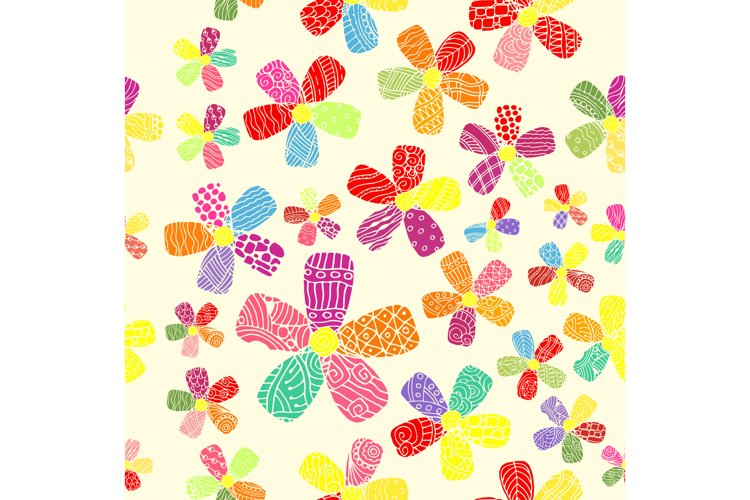 Vector Pattern 60s. Seamless Background Inspired Flower example image 1