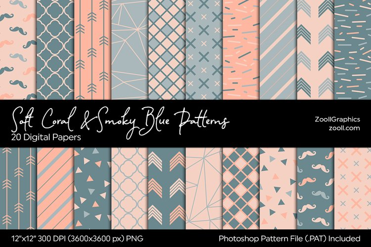 Soft Coral & Smoky Blue Digital Papers example image 1
