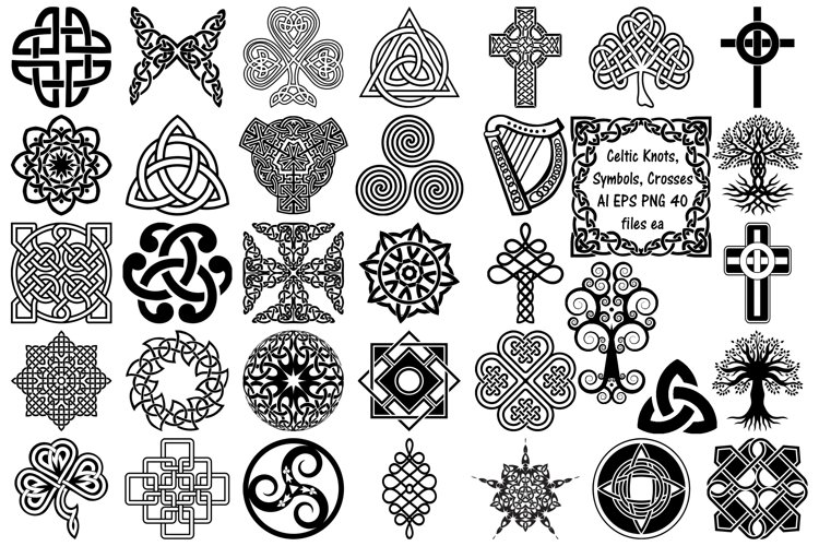 Celtic Symbols, Knots & Crosses AI EPS PNG, Irish Clip Art example image 1
