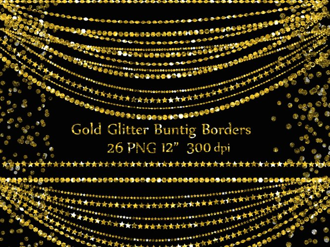 Gold Glitter borders example image 1