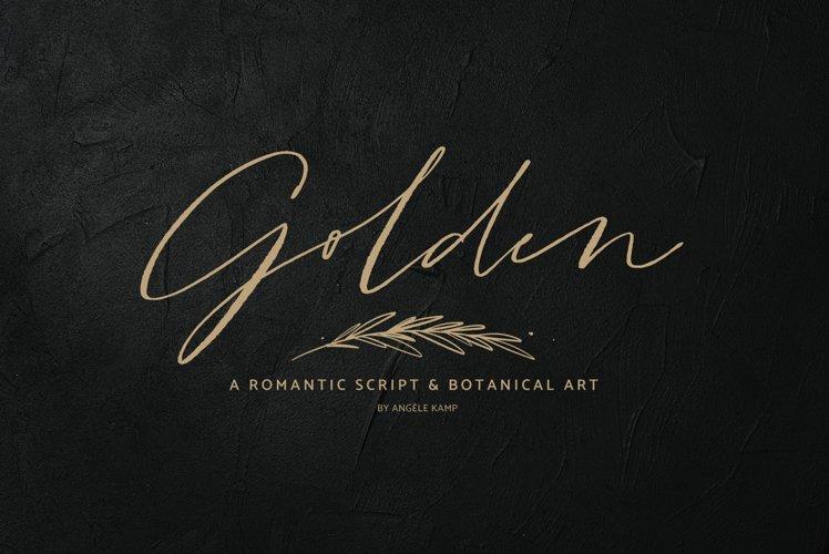 Golden, a romantic wedding script font example image 1