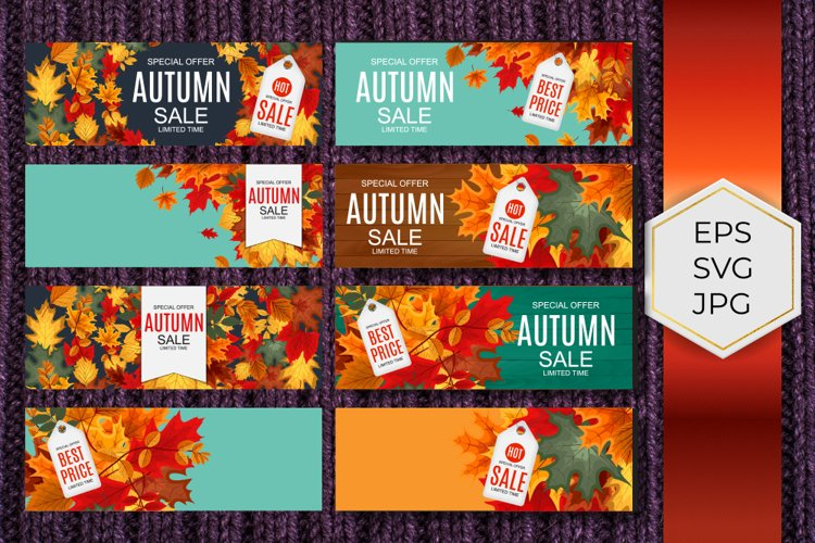 Autumn Sale Poster Banner Background set example image 1