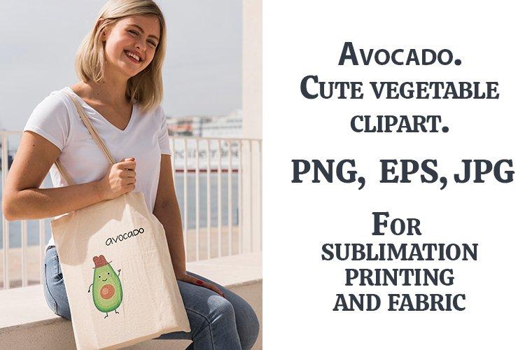 Avocado. Cute vegetable clipart. PNG, EPS, JPG