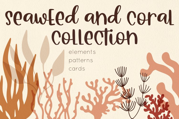 Coral and Seaweed collection, elements, patterns, cards