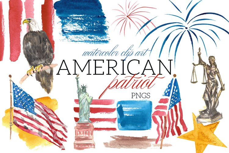 American Patriot Watercolor Clip Art Illustrations USA