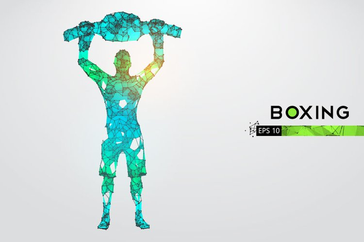 Silhouettes of a boxer, man, AI, EPS, PNG example image 1