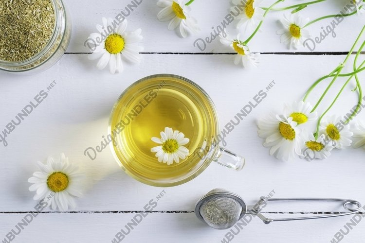 Top view of a cup of chamomile tea