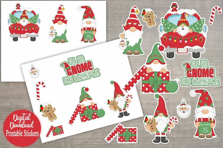 I'll Be Gnome For Christmas Printable Stickers example image 1