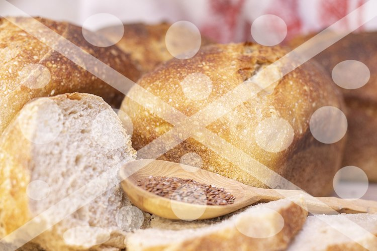 Bakery - golden rustic bread crusts. Fresh aromatic bread on example image 1