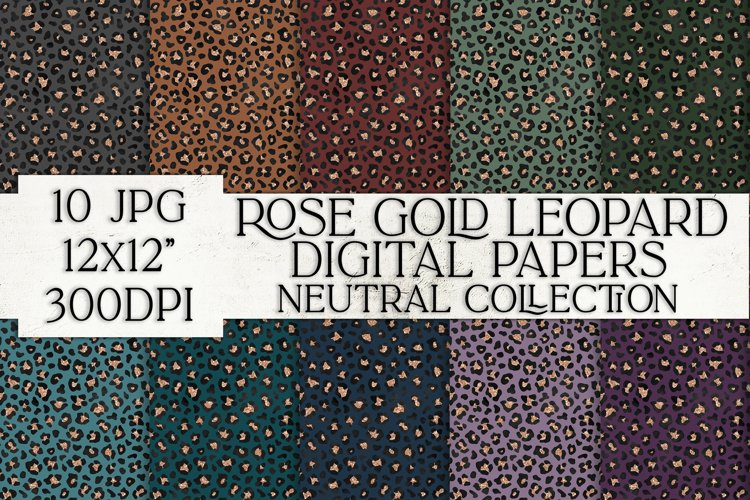 Rose Gold Leopard Digital Papers, Digital Paper Pack
