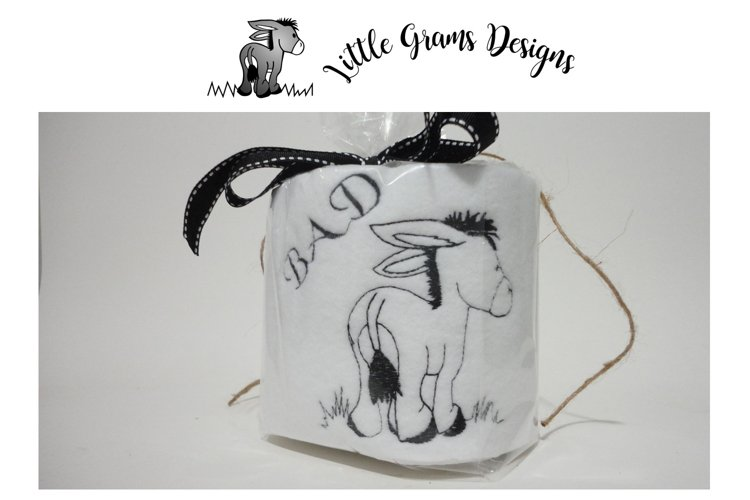 Toilet Paper Bad Donkey Embroidery Design example image 1