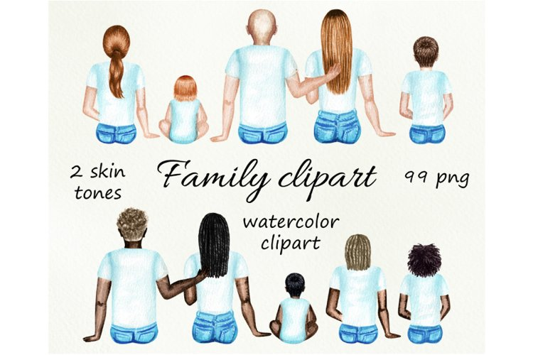Family watercolor customizible clipart. example image 1