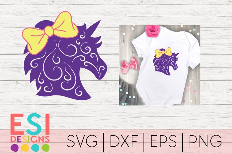 Unicorn with Bow and Swirls Design - SVG DXF EPS PNG