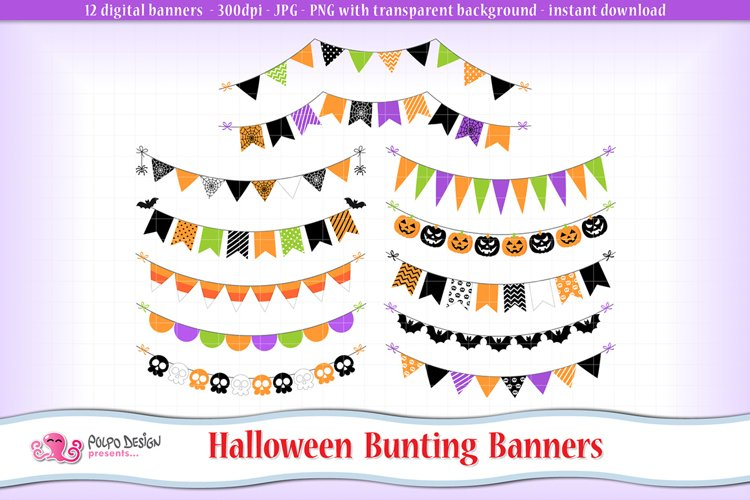 Halloween bunting banners clipart