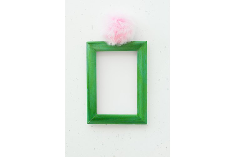 Wooden green photo frame on white background example image 1