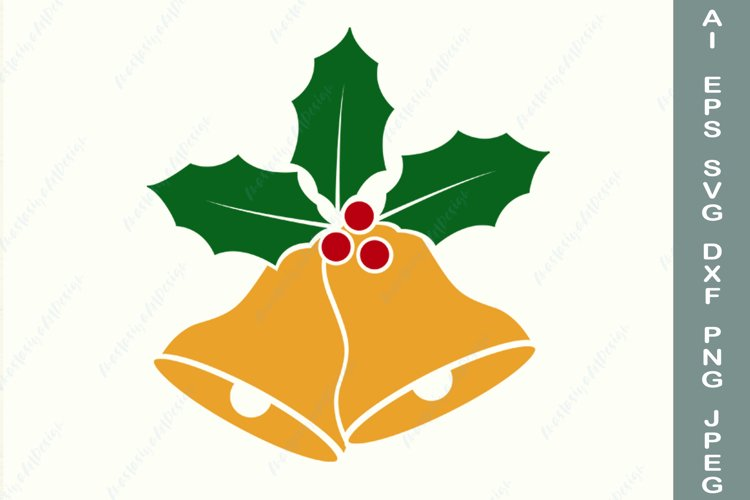Christmas bell and holly berry svg, Holiday svg, Winter dxf example image 1