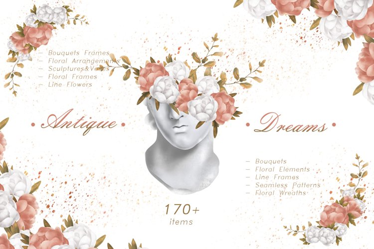 ANTIQUE DREAMS flowers & leaves pack example image 1