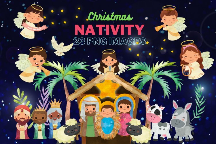 Nativity Clipart, religious illustration, Bible graphics example image 1