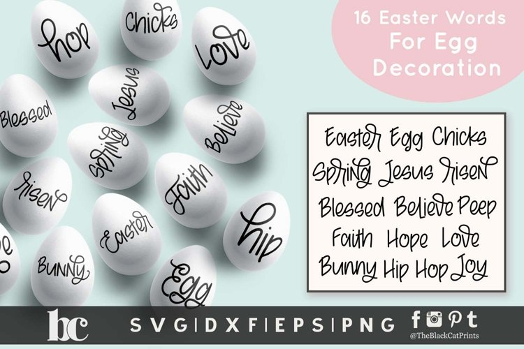 Easter SVG Bundle Easter Bundle SVG Easter Words SVG for Egg