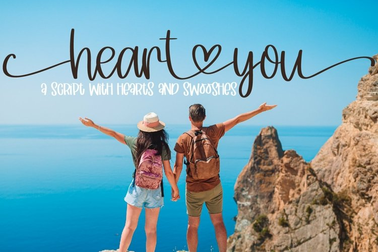 Web Font Heart You - A Script With Hearts & Swooshes example image 1