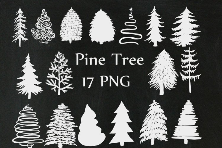 Christmas Chalkboard Trees Clipart example image 1